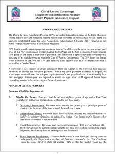 Rancho Cucamonga NSP DPA Program Guidelines