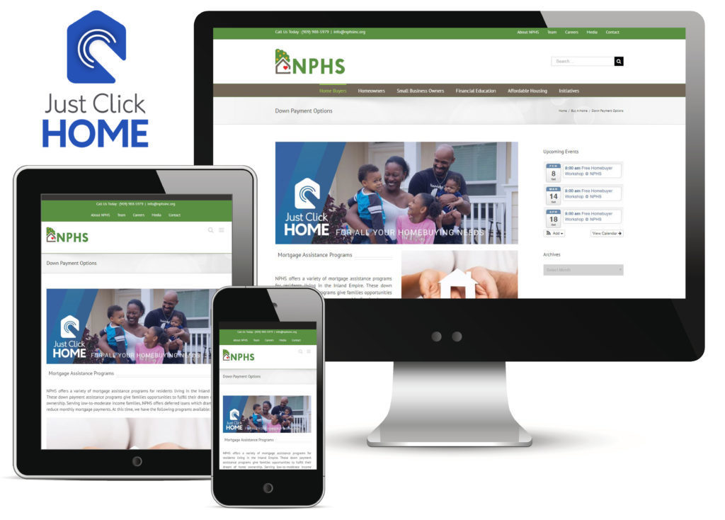 Phone, tablet, and Computer featuring NPHS website and Just Click HOME