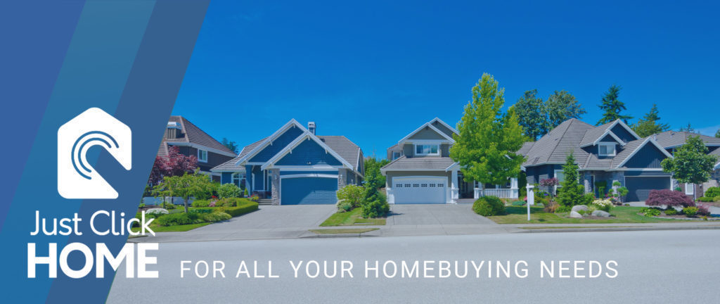 Just Click HOME banner featuring three homes on the street