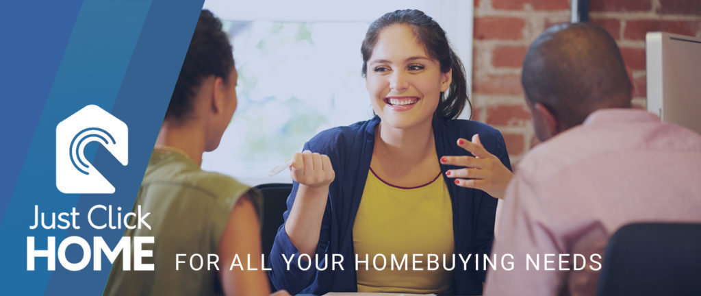 Just Click HOME banner with consultant speaking to a couple