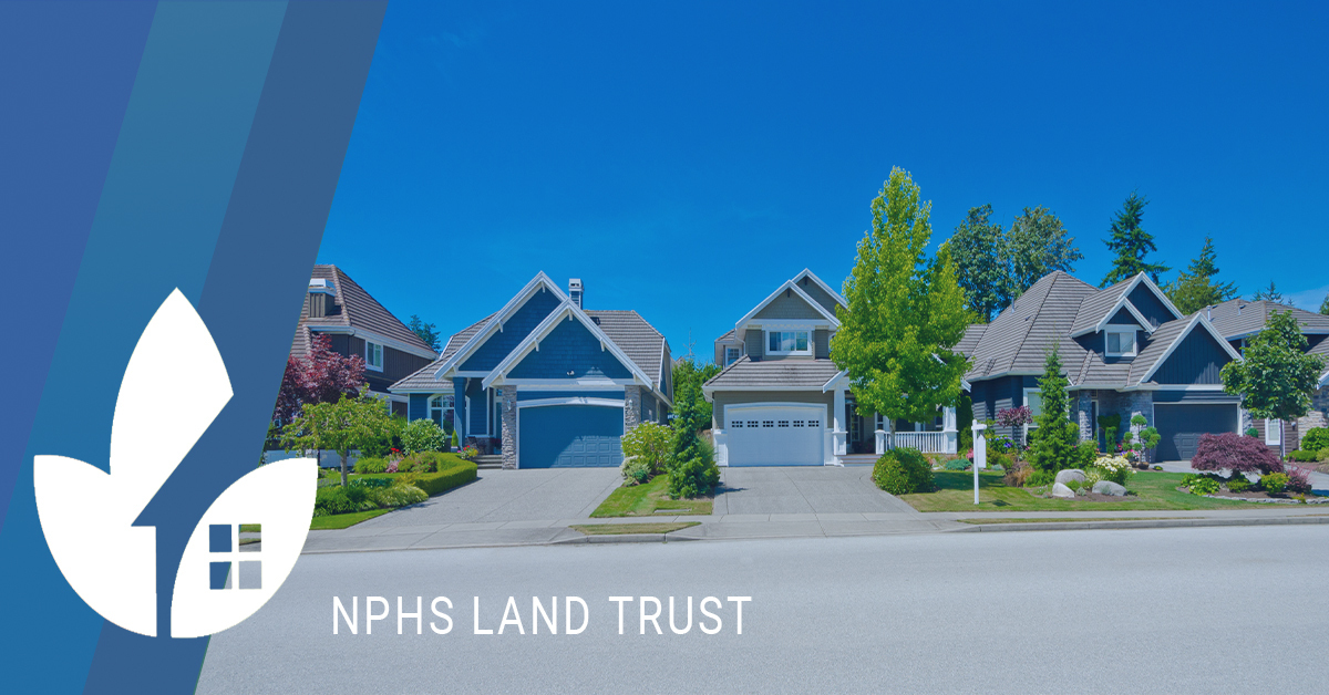 NPHS Land Trust Banner with homes on street